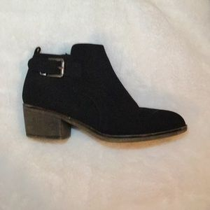Whitemt. Black suede zipper ankle boots.